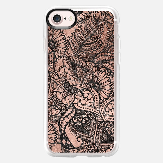 Modern black watercolor floral rose gold illustration by Girly Trend - Wallet Case