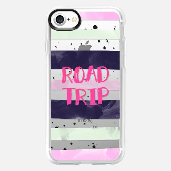 Modern road trip typography pink purple green watercolor stripes splatters by Girly Trend - Wallet Case