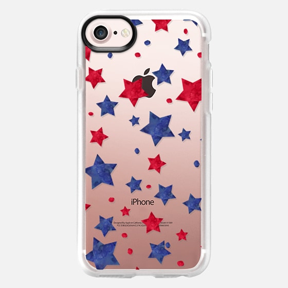 Modern red blue watercolor stars 4th of July by Girly Trend - Wallet Case