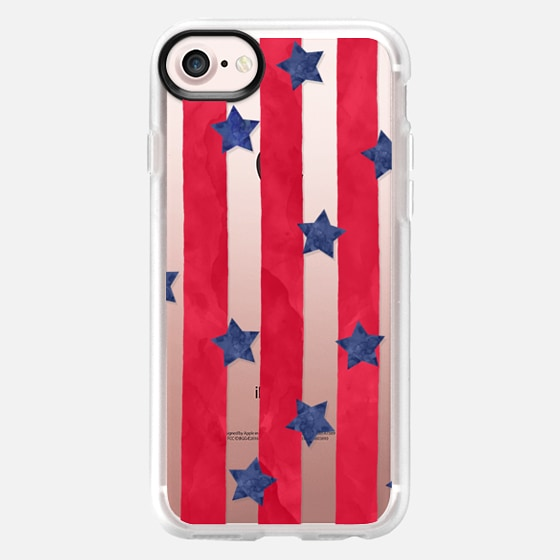 Modern red watercolor stipes blue stars 4th of july by GirlyTrend - Wallet Case