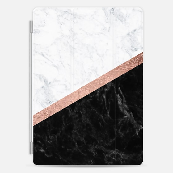 Modern black white marble color block rose gold foil stripe by Girly Trend -