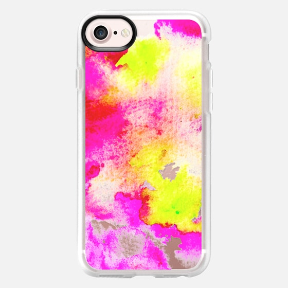 Neon pink yellow hand painted watercolor by Girly Trend - Wallet Case
