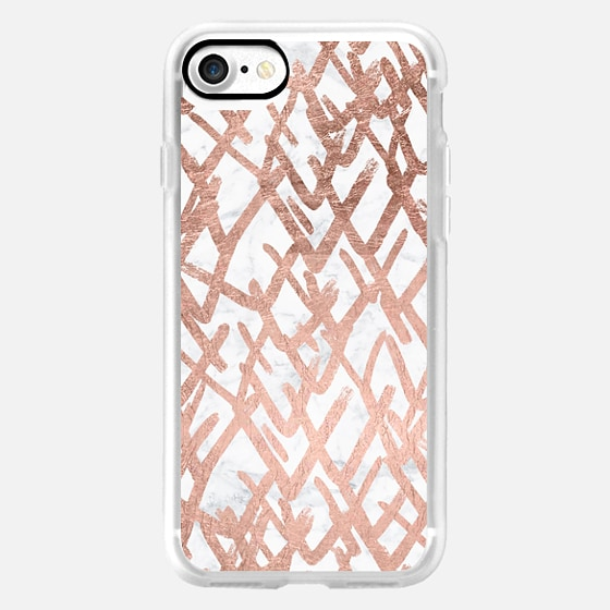 Modern abstract geometric faux rose gold foil pattern on white marble by Girly Trend -