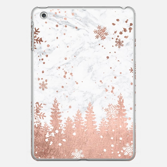 Modern rose gold foil christmas holiday winter snowlfake pine trees on white marble by Girly Trend - Photo Cover