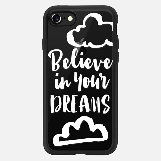 Believe in your dreams motivational quote typography white clouds by Girly Trend -