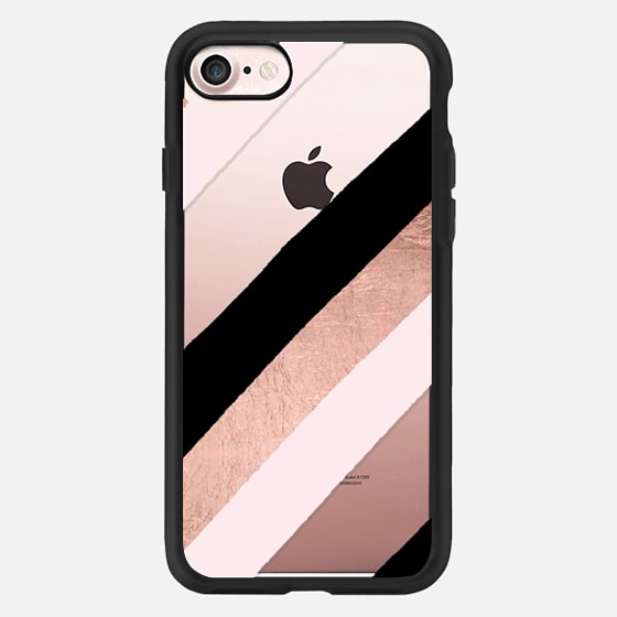 Modern black blush pink rose gold handdrawn stripes pattern by Girly Trend - Classic Grip Case