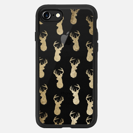 Modern gold foil deer head pattern christmas clear by Girly Trend - Classic Grip Case