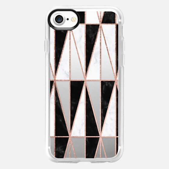Modern geometric triangles rose gold on black white marble pattern by Girly Trend -