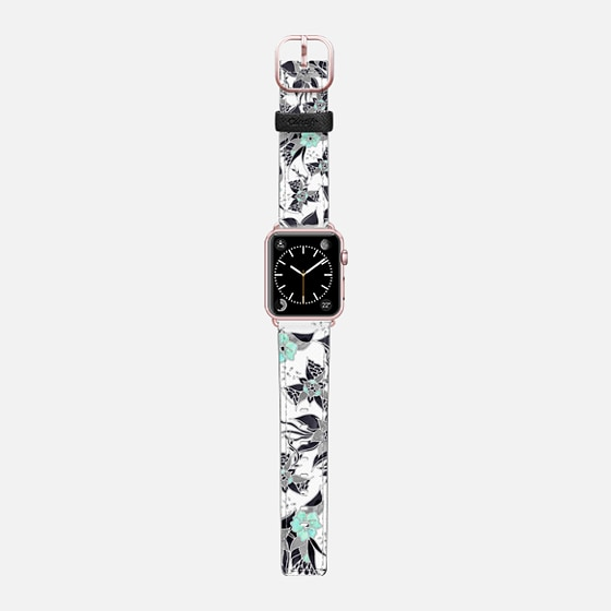 Modern spring grey mint green watercolor floral illustration pattern by Girly Trend - Saffiano Leather Watch Band