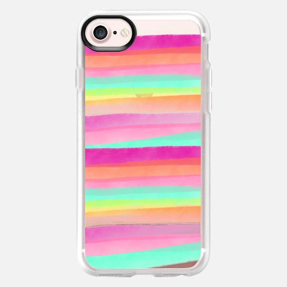 Modern summer pastel watercolor rainbow hand drawn stripes pink turquoise by Girly Trend - Classic Grip Case