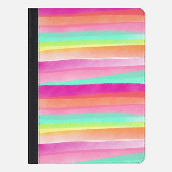 Modern summer pastel watercolor rainbow hand drawn stripes pink turquoise by Girly Trend - iPad Folio Case
