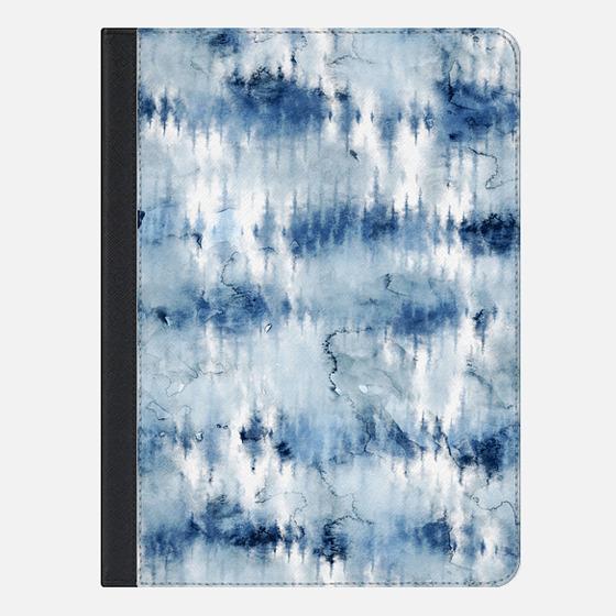 Modern hand painted dark blue tie dye batik watercolor by Girly Trend - iPad Folio Case