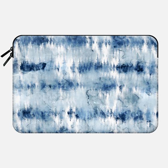 Modern hand painted dark blue tie dye batik watercolor by Girly Trend - Macbook Sleeve