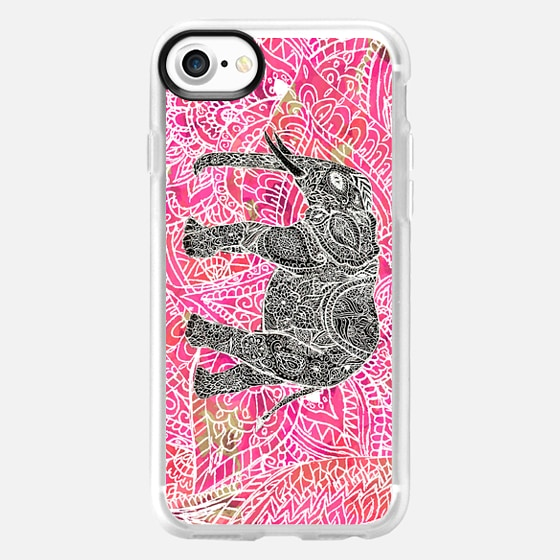 Pink Tribal Paisley Elephant Sketch - Wallet Case