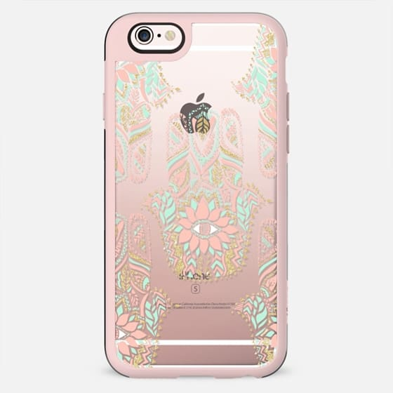Modern girly pink mint gold Hamsa hand of fatima by Girly Trend - New Standard Case