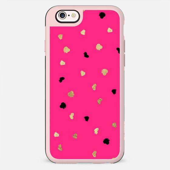 Modern gold glitter leaf foil brushstrokes bright neon pink by Girly Trend - New Standard Case