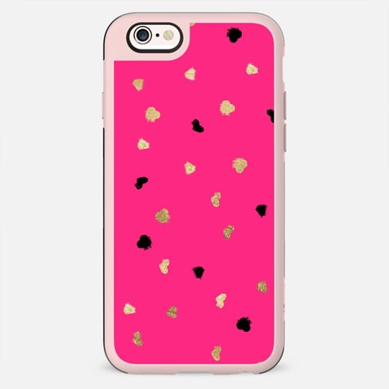 Modern gold glitter leaf foil brushstrokes bright neon pink by Girly Trend - New Standard Case