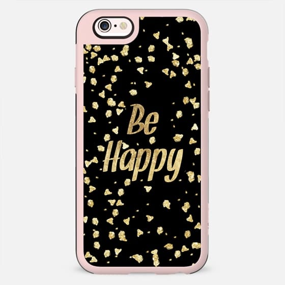 Modern gold Be happy typography brushstrokes by Girly Trend - New Standard Case