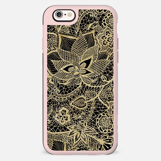 Elegant gold black hand drawn chic floral paisley lace pattern by Girly Trend - New Standard Case
