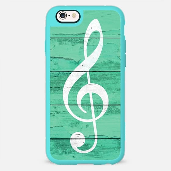 Music note on rustic striped green wood by Girly Trend -