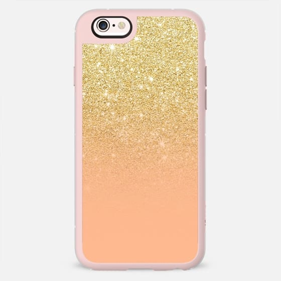 Modern chic gold glitter ombre coral color block  by Girly Trend -