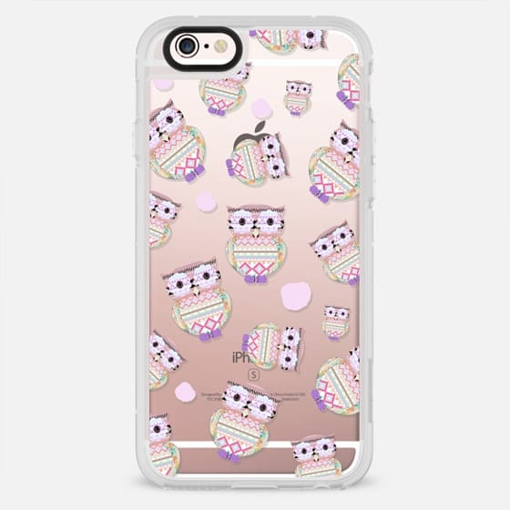 Cute tribal aztec pastel owls pink watercolor dots pattern by Girly Trend - New Standard Case