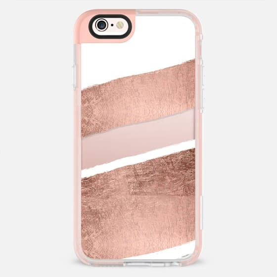 Modern faux rose gold foil white stripes briushstrokes by Girly Trend -