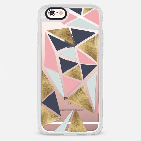 Modern hand drawn navy blue pink light blue gold foil geometric triangles semi transparent pattern - New Standard Case