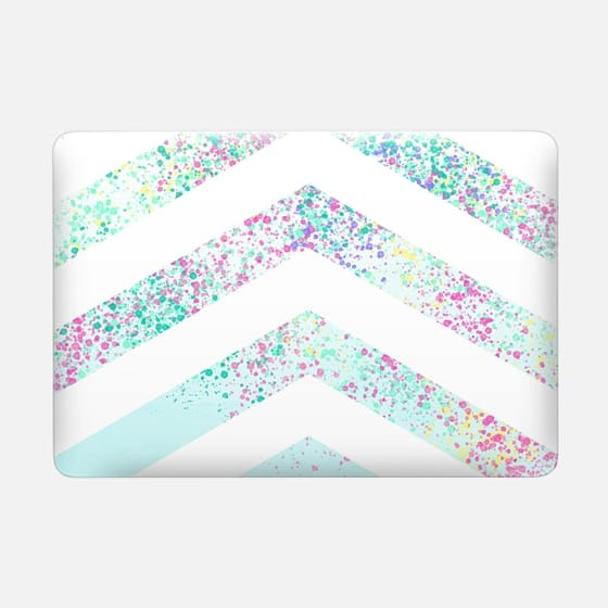 Modern pastel paint splatters teal ombre chevron pattern by Girly Trend -