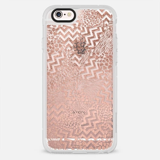 Modern rose gold triangles pattern chevron zebra and leopard pattern by Girly Trend - New Standard Case
