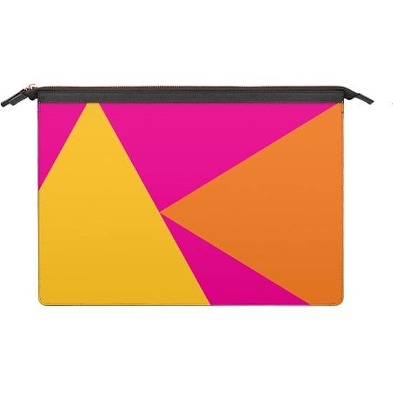 Macbook Snap Macbook Air 13 Inch Case Bright Summer Neon Pink Orange Yellow Color Block Triangles By Girly Trend