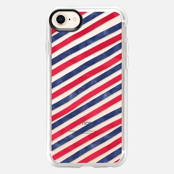 Summer traditional blue red watercolor hand drawn nautical stripes pattern by Girly Trend - Snap Case