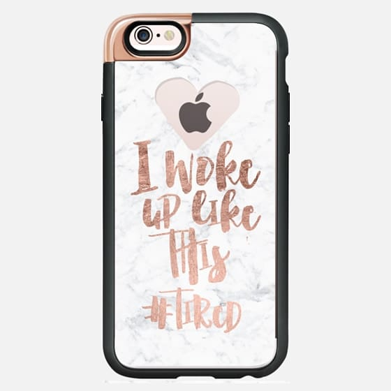 Modern typography quote I woke up like this - tired rose gold foil white marble semi transparent  heart by Girly Trend - New Standard Luxe Case