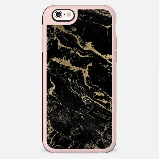 Modern chic gold foil black marble by Girly Trend - New Standard Case