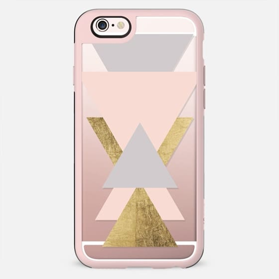 Minimalistic blush pink oyster gray faux gold leaf triangles color block by Girly Trend - New Standard Case