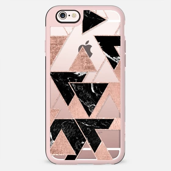 Modern chic faux rose gold foil glitter black marble geometric triangles pattern by Girly Trend