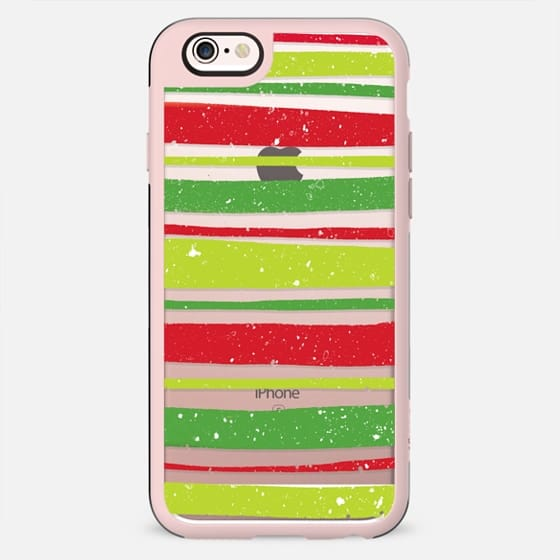 Christmas snowflakes modern bright hand drawn red green stripes pattern by Girly Trend - New Standard Case