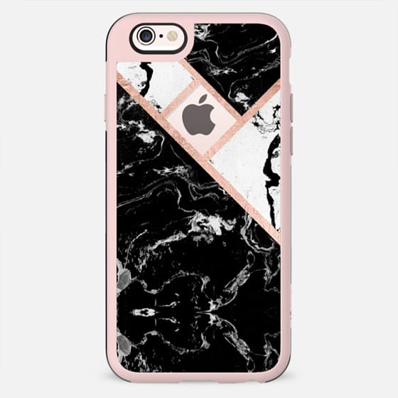 Modern black white marble rose gold stripe color block by Girly Trend