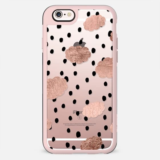 Modern rose gold clouds black hand drawn rain polka dots pattern by Girly Trend - New Standard Case