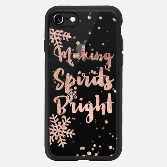 Modern Christmas making spirits bright typography holiday quote snowflake rose gold by Girly Trend