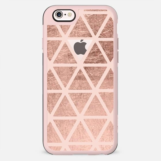 Modern rose gold geometric triangles pattern on blush pink clear by Girly Trend - New Standard Case