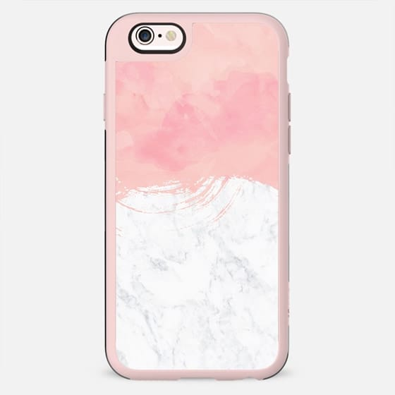 Modern blush pink watercolor brushstrokes white marble by Girly Trend