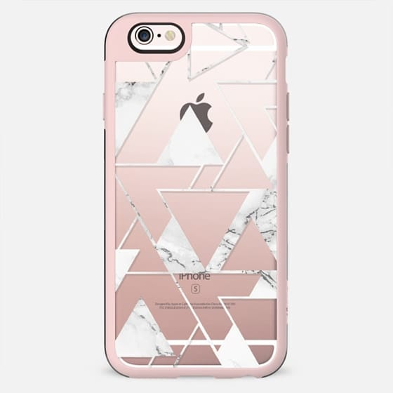 Modern white marble triangles geometric pattern by Girly Trend
