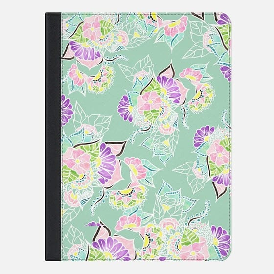 Modern bright spring pastel floral watercolor illustration on mint by Girly Trend - iPad Folio Case