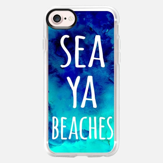 Funny sea ya beaches typography blue turquoise mermaid watercolor by Girly Trend - Classic Grip Case
