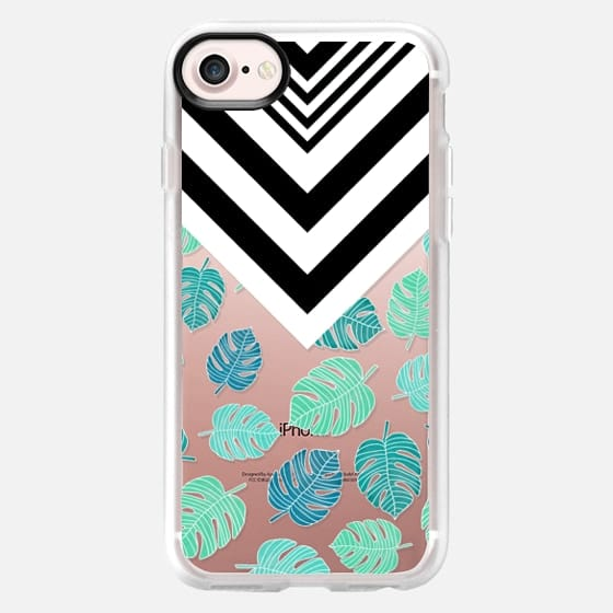Modern tropical leaf monstera turquoise mint black white chevron by Girly Trend