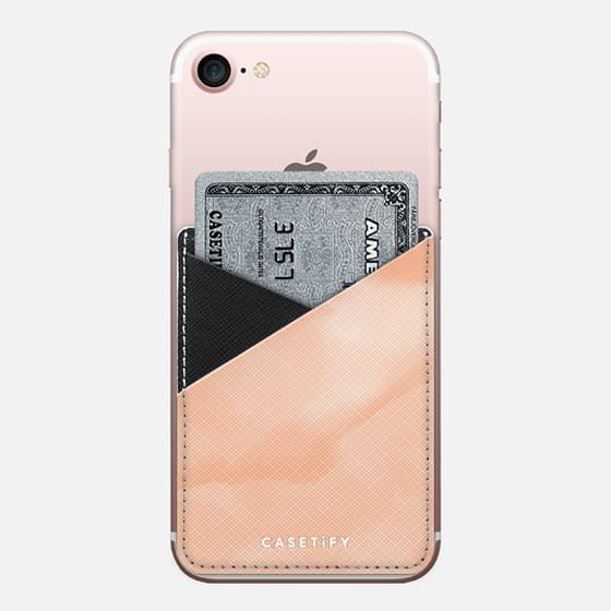 Summer peach sand watercolor by Girly Trend - Saffiano Leather Phone Wallet