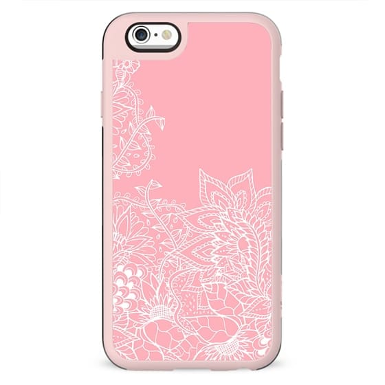 Modern white floral pattern handdrawn illustration on girly summer spring pastel pink by Girly Trend