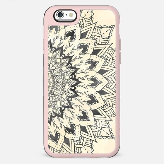 Boho grey watercolor mandala on peach sand watercolor by Girly Trend - New Standard Case