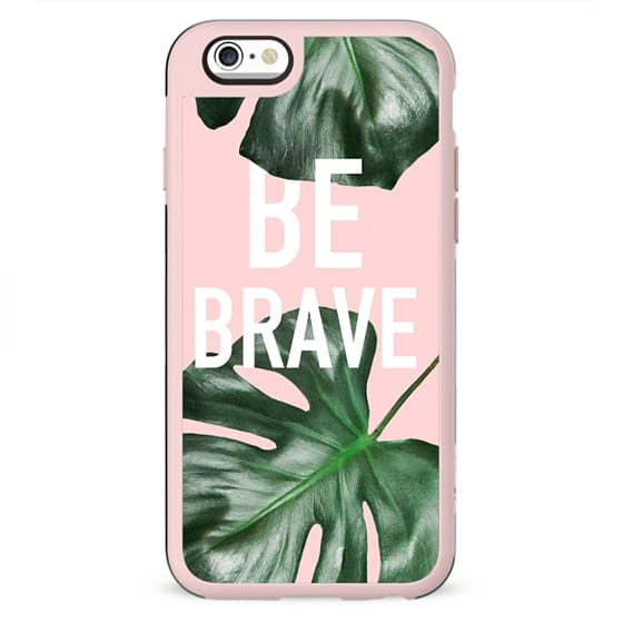 Modern white be brave motivation typography green monstera leaf by Girly Trend